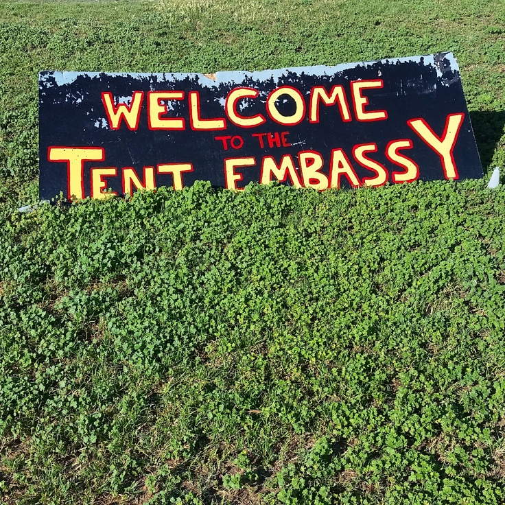 Tent Embassy out the front of the Old Parliament house. Photo © Jade Koekoe.