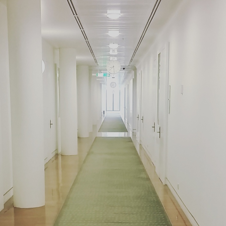 Hallway in the House of Representatives, Parliament house, Canberra, ACT.  Photo © Jade Koekoe.