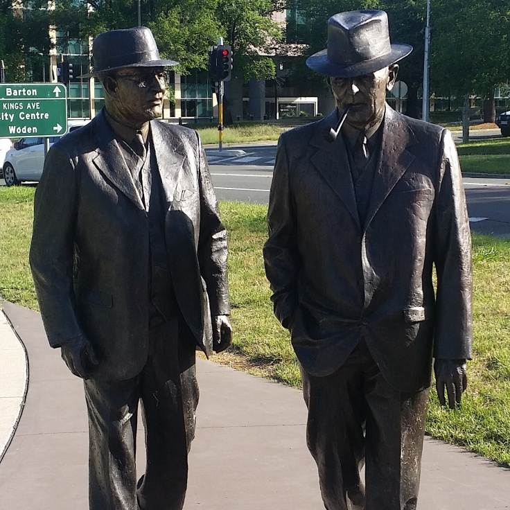 Sculpture of Ben Chifley and John Curtin, Canberra, ACT.  Photo © Jade Koekoe.