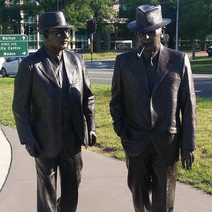 Sculpture of Ben Chifley and John Curtin, Canberra, ACT.  Photo © Jade Koekoe.