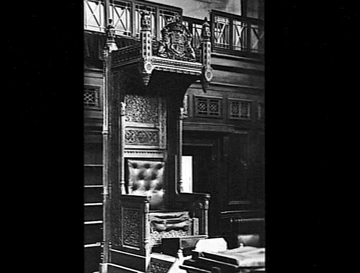 The Speaker of the House chair in Old Parliament house 1931, Canberra, ACT. Source Museum Victoria.