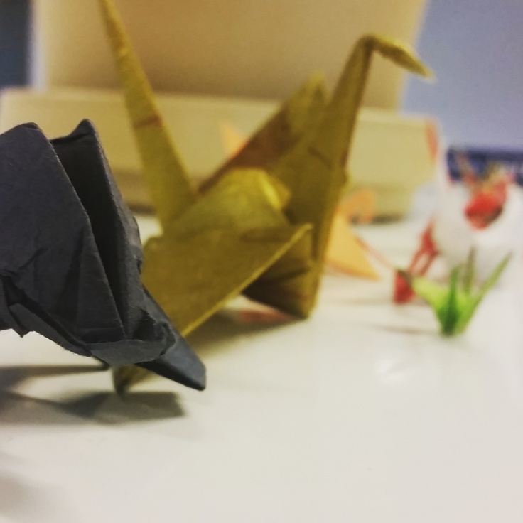 Origami on a co-worker's desk, Parliamentary Library, Canberra, ACT. Photo © Jade Koekoe.
