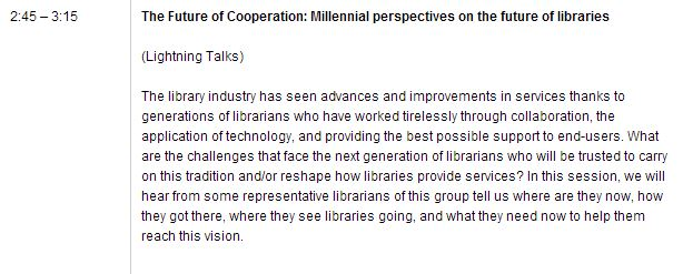 From OCLC's Program, the description of the panel I spoke on.