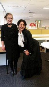 My supervisor and I at Swinburne University, we got dressed up for my last day, Melbourne, VIC.