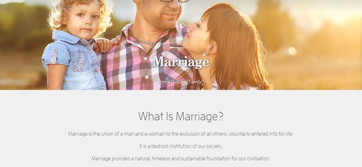 Screenshot of the Australian Christian Lobby website on Marriage