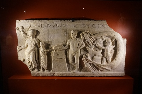 Votive relief from the temple of Hercules Ostia, plaster