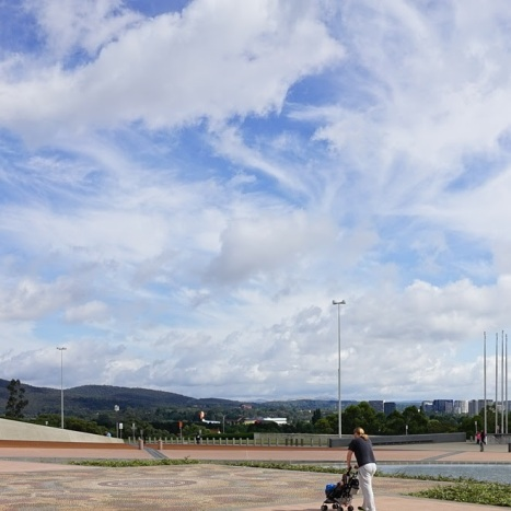 In front of Parliament House, Canberra. Photo © Jade Koekoe
